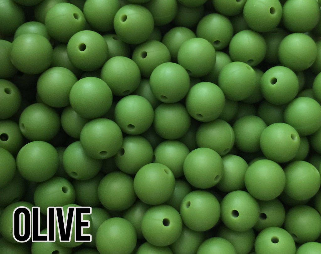 12 mm Round Olive Silicone Beads (aka Army Green)