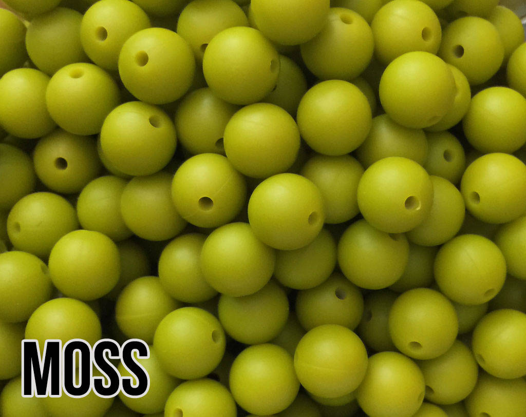 15 mm Round Moss Silicone Beads  (aka Bright Green, Bright Chartreuse)