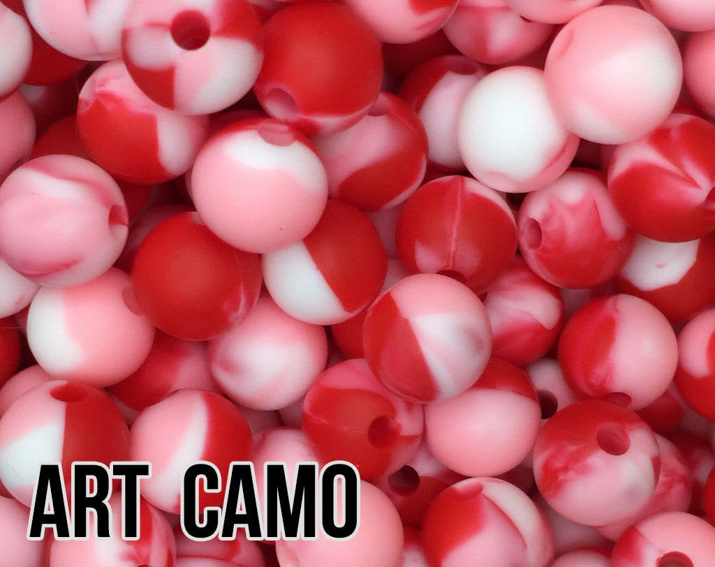 15 mm Round Art Camo Silicone Beads  (red, white, pink)