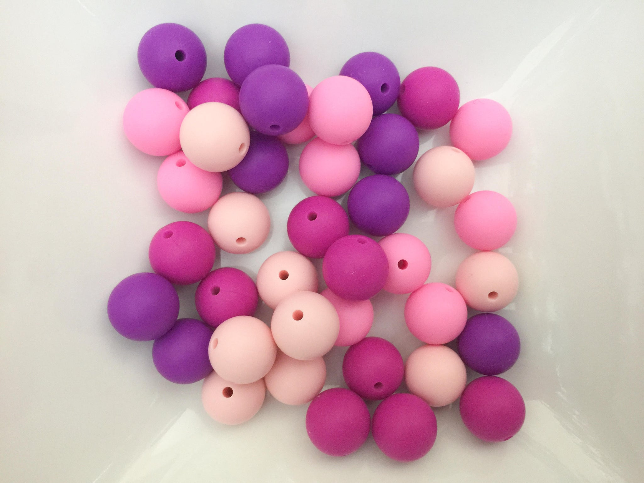 40 Bulk Silicone Teething Beads - Pinks Purples - Bulk Silicone Beads Wholesale