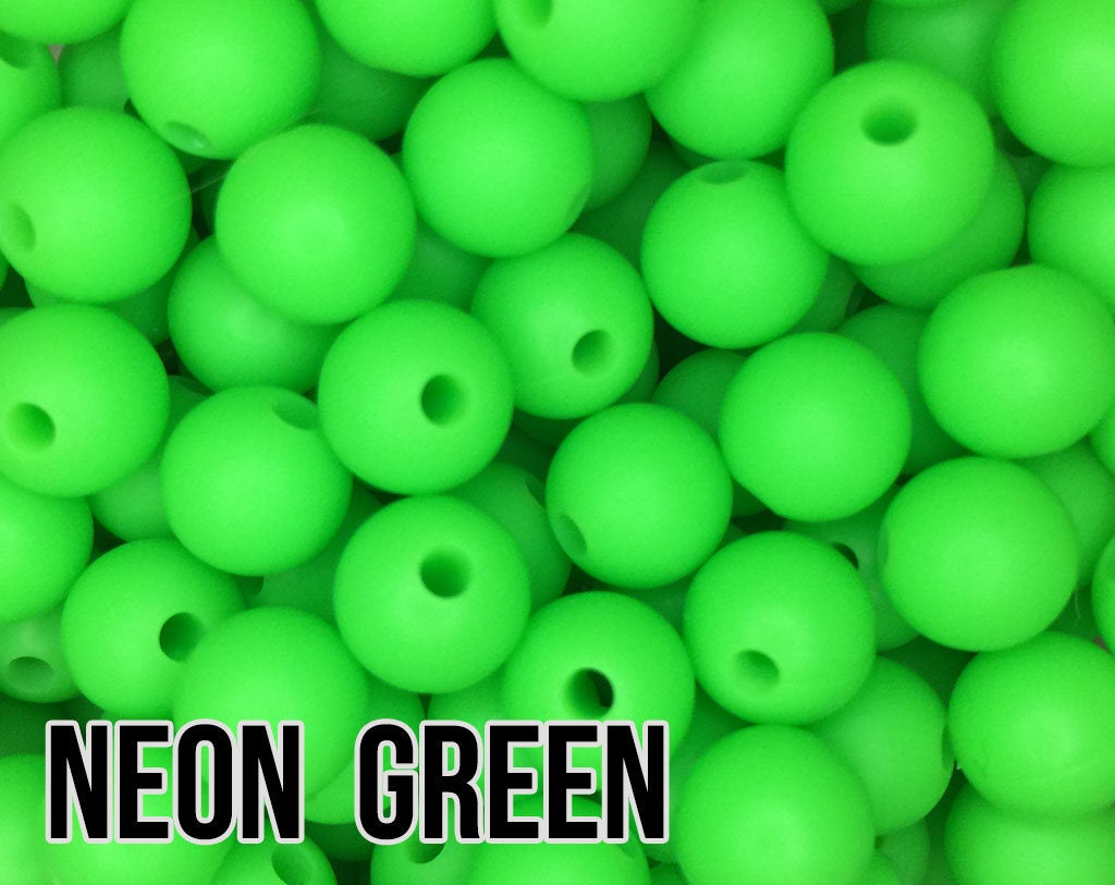9 mm Round Neon Green Silicone Beads