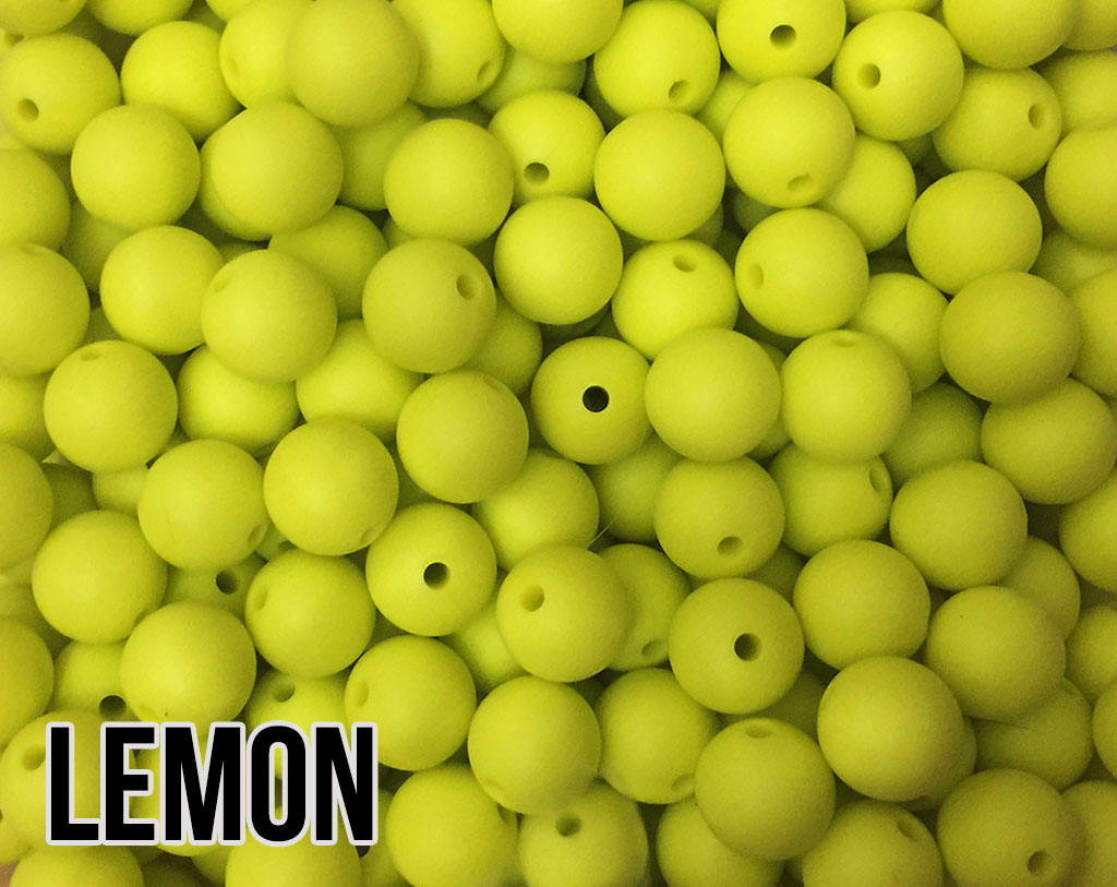 9 mm Round Lemon Silicone Beads (aka Lemon Yellow)