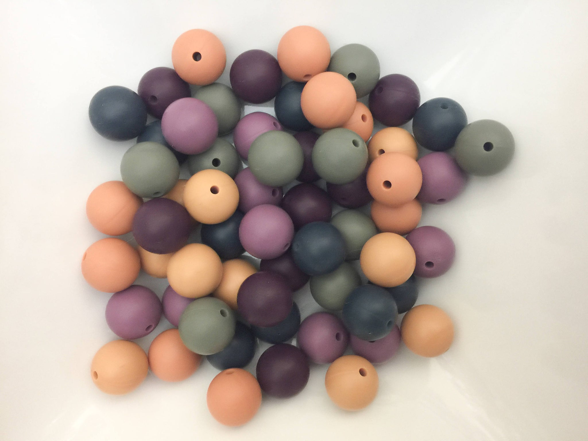 60 Bulk Silicone Teething Beads - Fall Autumn Colors - Bulk Silicone Beads Wholesale