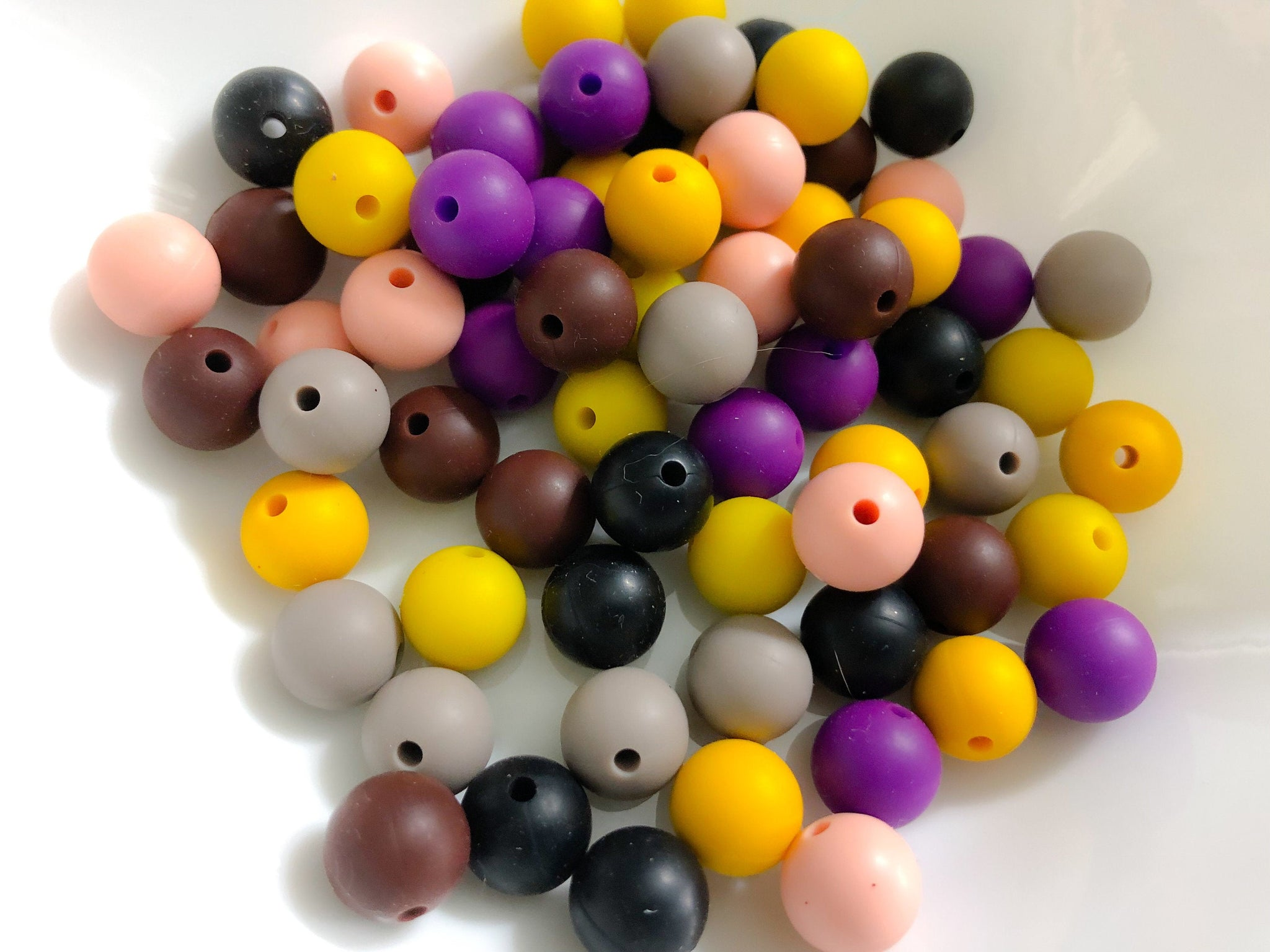 70 Bulk Silicone Teething Beads - Night Hyacinth - Plum, Black, Brown, Cafe, Mustard, Pencil, Porcelain - Bulk Silicone Beads Wholesale