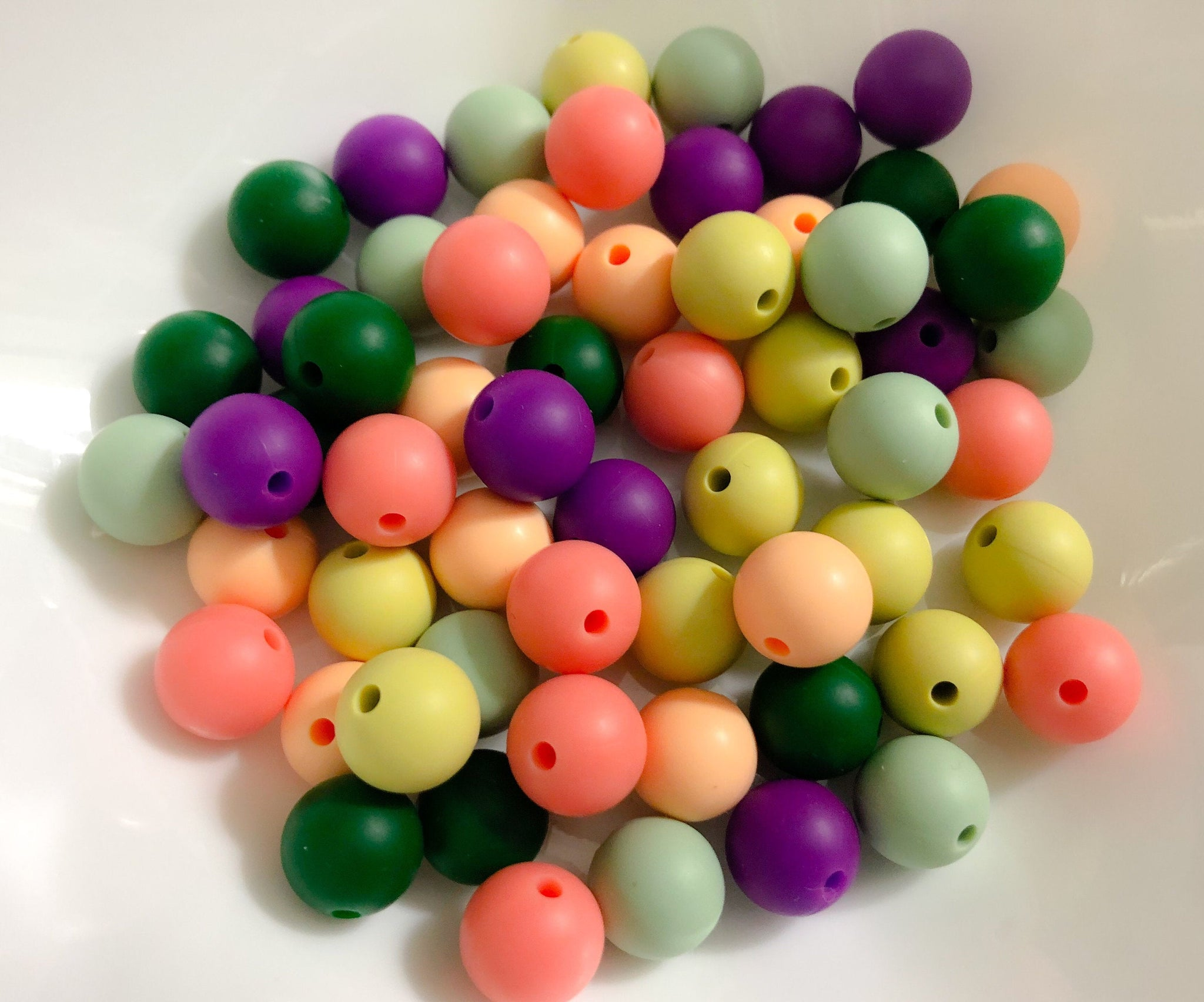 60 Bulk Silicone Teething Beads - Lilies - Evergreen, Sweet Mint, Celery, Peach, Carnation, Plum - Bulk Silicone Beads Wholesale