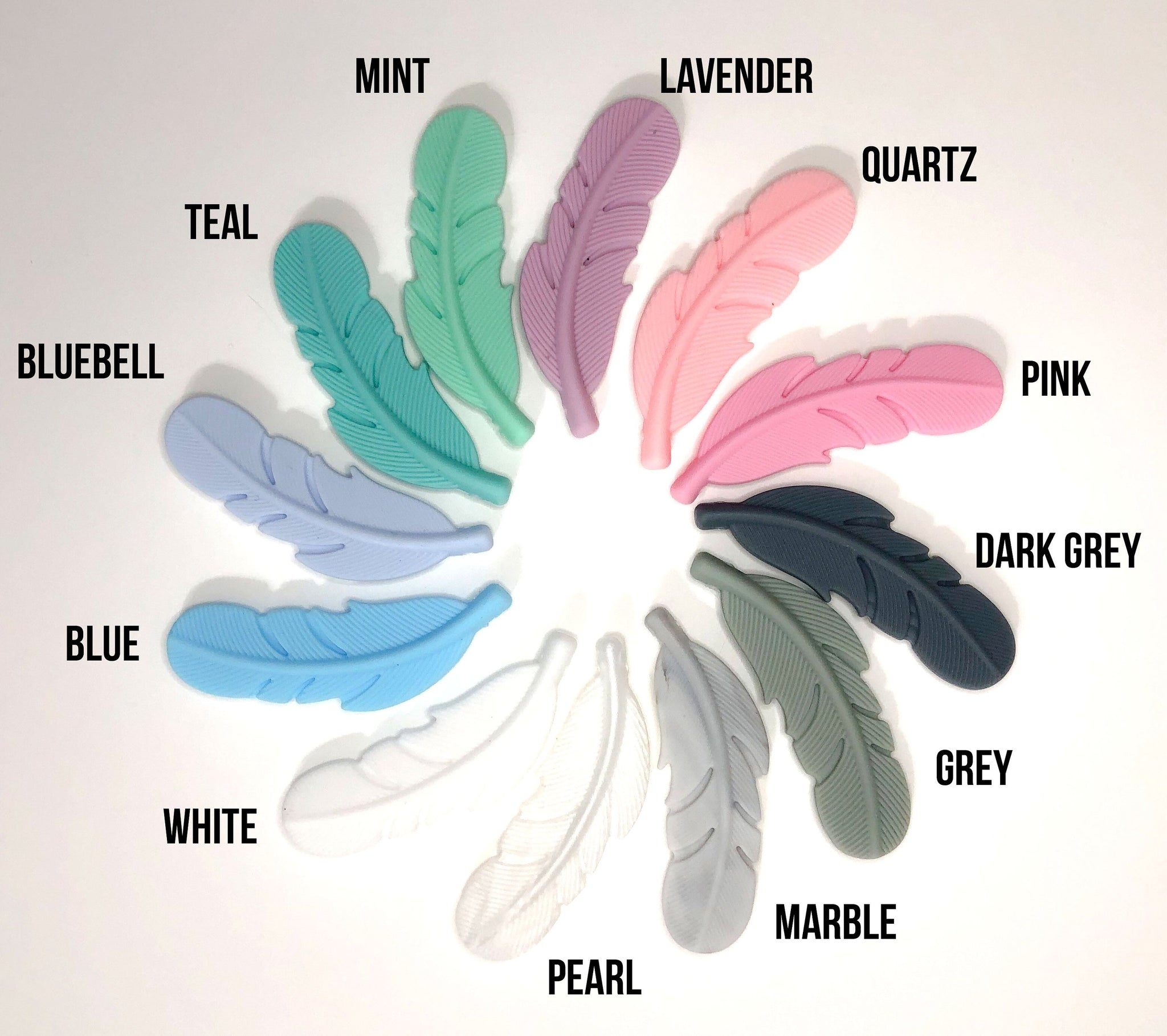 Silicone Feather Pendant Beads