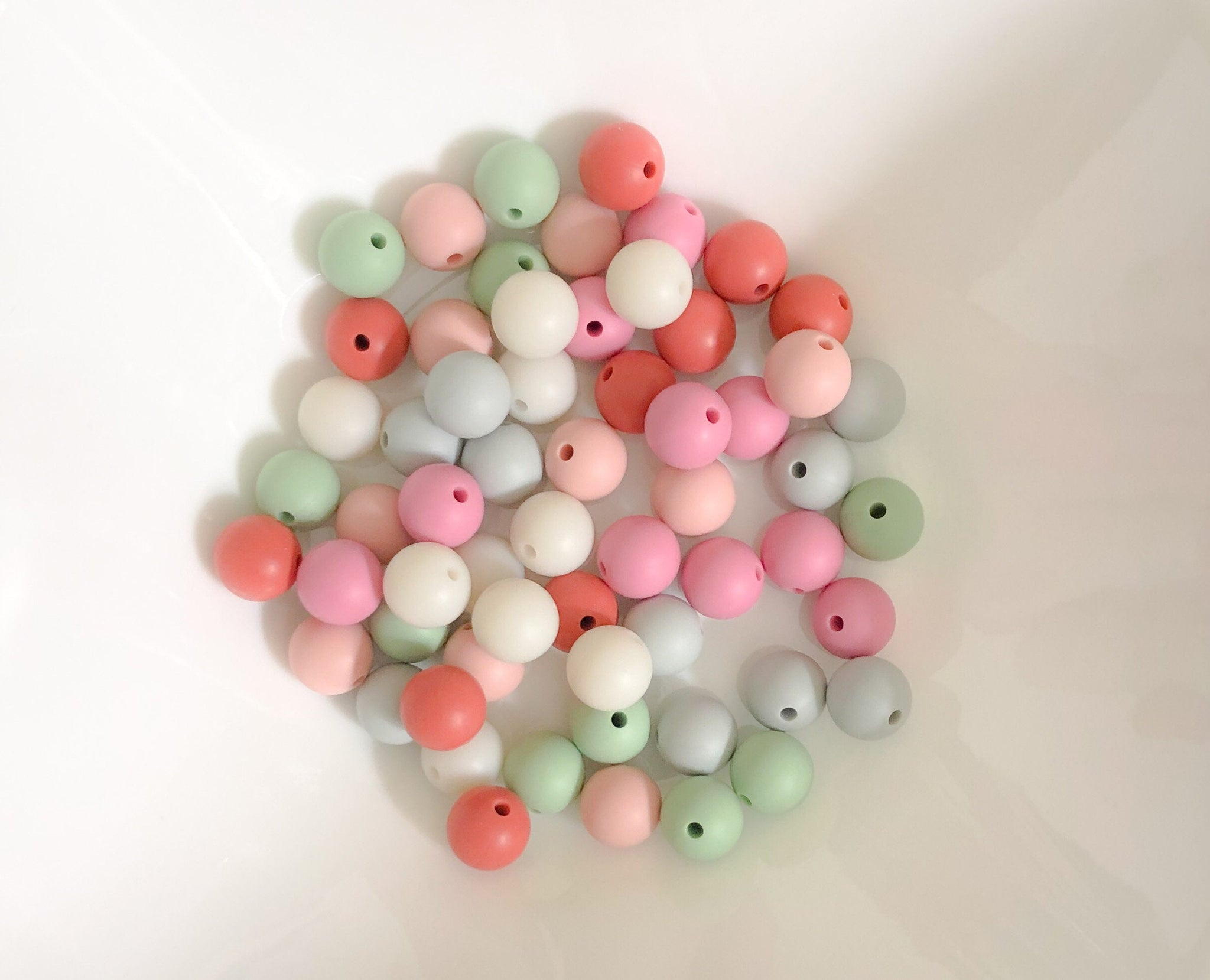 60 Bulk Silicone Teething Beads - Wisp - Dove, Sweet Mint, Terra, Petal, Orchid, and Seal - Bulk Silicone Beads Wholesale