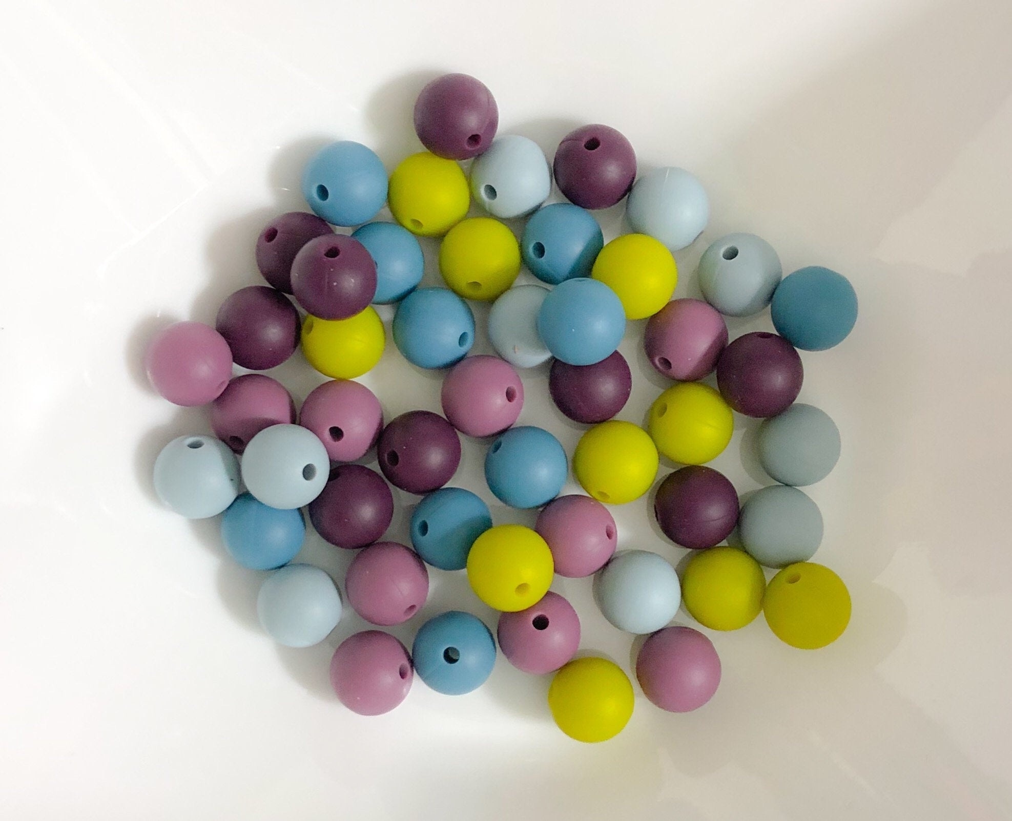50 Bulk Silicone Teething Beads - Blackberry Macaroon - Violet, Nectar, Bluebird, Wedgewood, Moss - Bulk Silicone Beads Wholesale