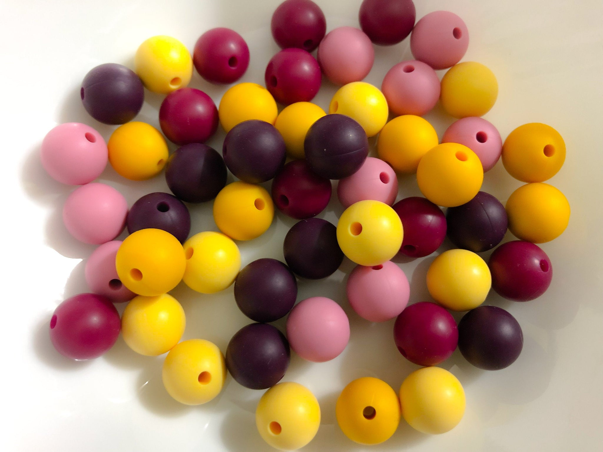 50 Bulk Silicone Teething Beads - Gold Wardrobe - Violet, Merlot, Orchid, Custard, Pencil - Bulk Silicone Beads Wholesale