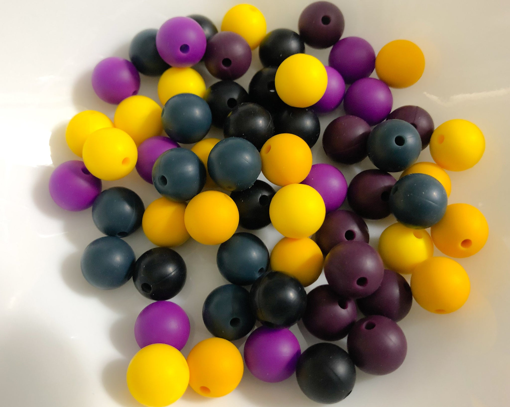 60 Bulk Silicone Teething Beads - Farmhouse Door - Sunflower, Pencil, Plum ,Violet, Black, Prussian - Bulk Silicone Beads Wholesale