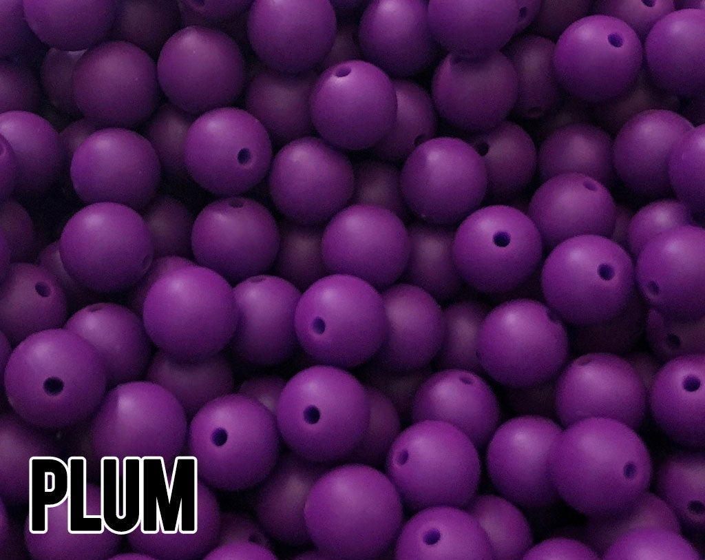 9 mm Round Plum Silicone Beads (aka Jewel Purple)