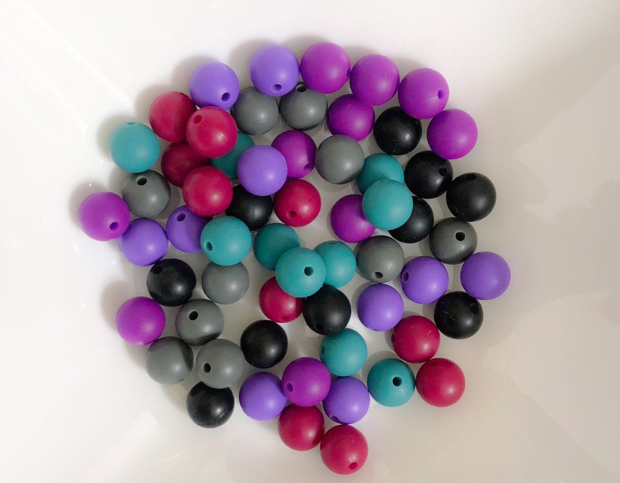 60 Bulk Silicone Teething Beads - Mulberry Tea - Licorice, Steel, Black, Plum, Merlot, Lilac - Bulk Silicone Beads Wholesale