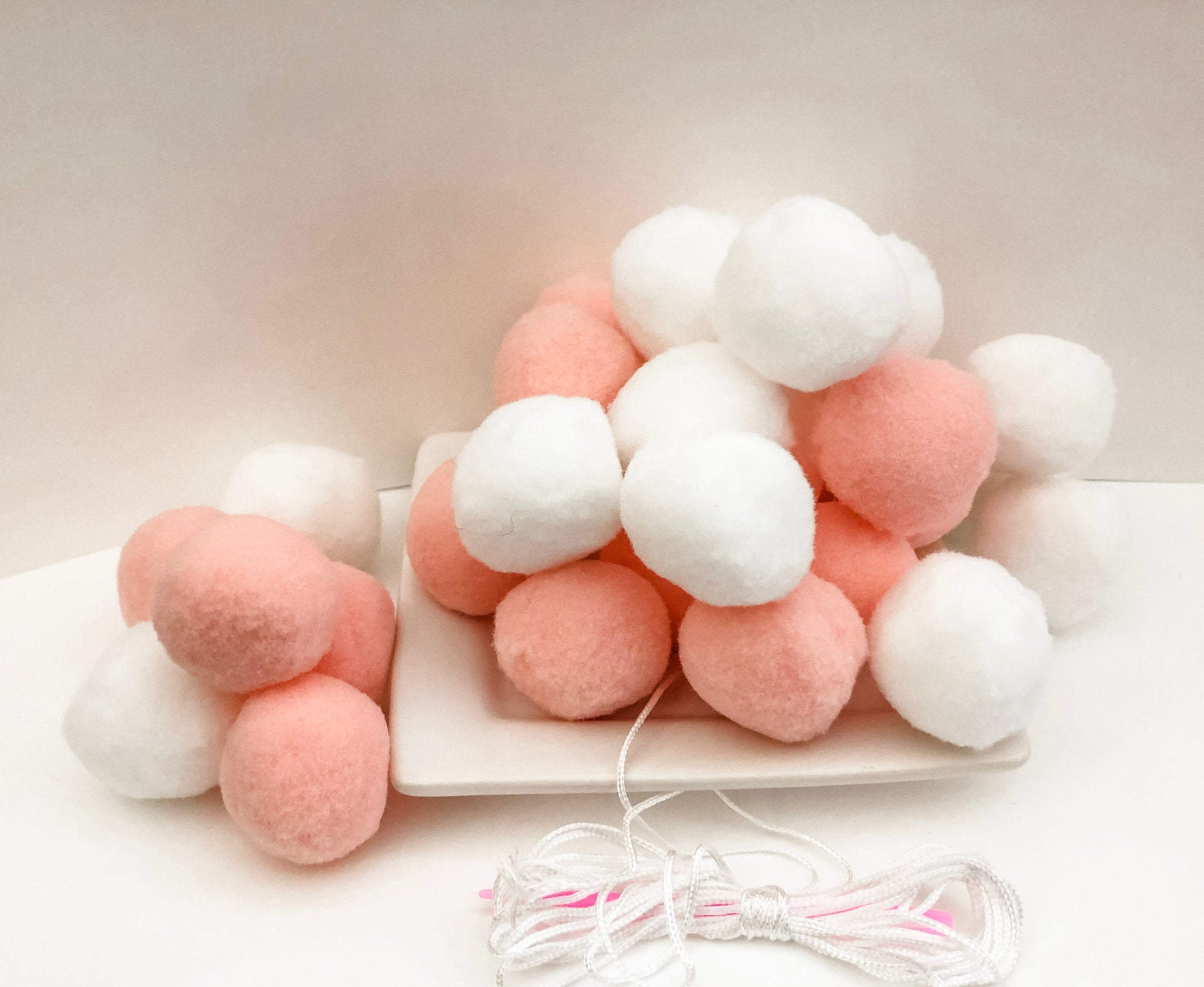 Pink and White Pom Pom Garland - DIY - 30 Pom Poms for a Custom Garland