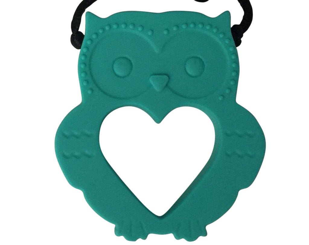 1 Silicone Owl Teether / Pendant in Teal - Silicone Teething, Silicone Teether, Teething Pendant