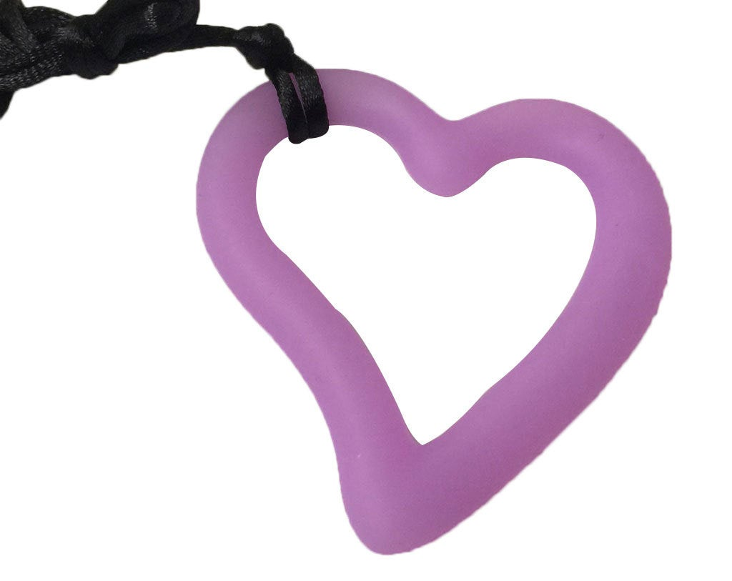 1 Silicone Heart Teether / Pendant in Purple - Silicone Teething, Silicone Teether, Teething Pendant