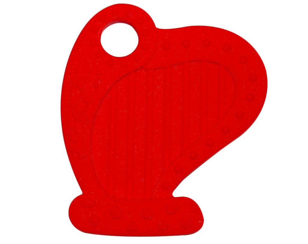 Silicone Harp Teether in Red - Silicone Teething, Silicone Teether, Teething Pendant