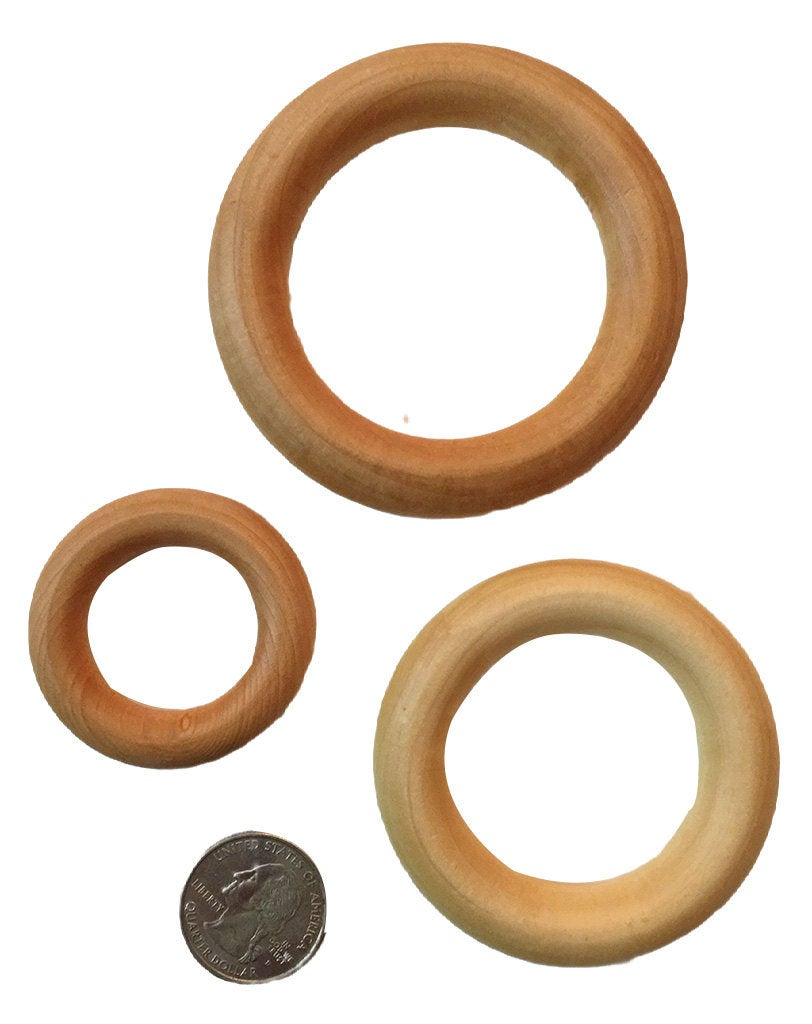 "Birch Wood Teething Rings - 3"", 2.2"", 2.5"", 1.75"" - Conditioned with T-Balm (Organic Olive or Coconut Oil and Beeswax)"