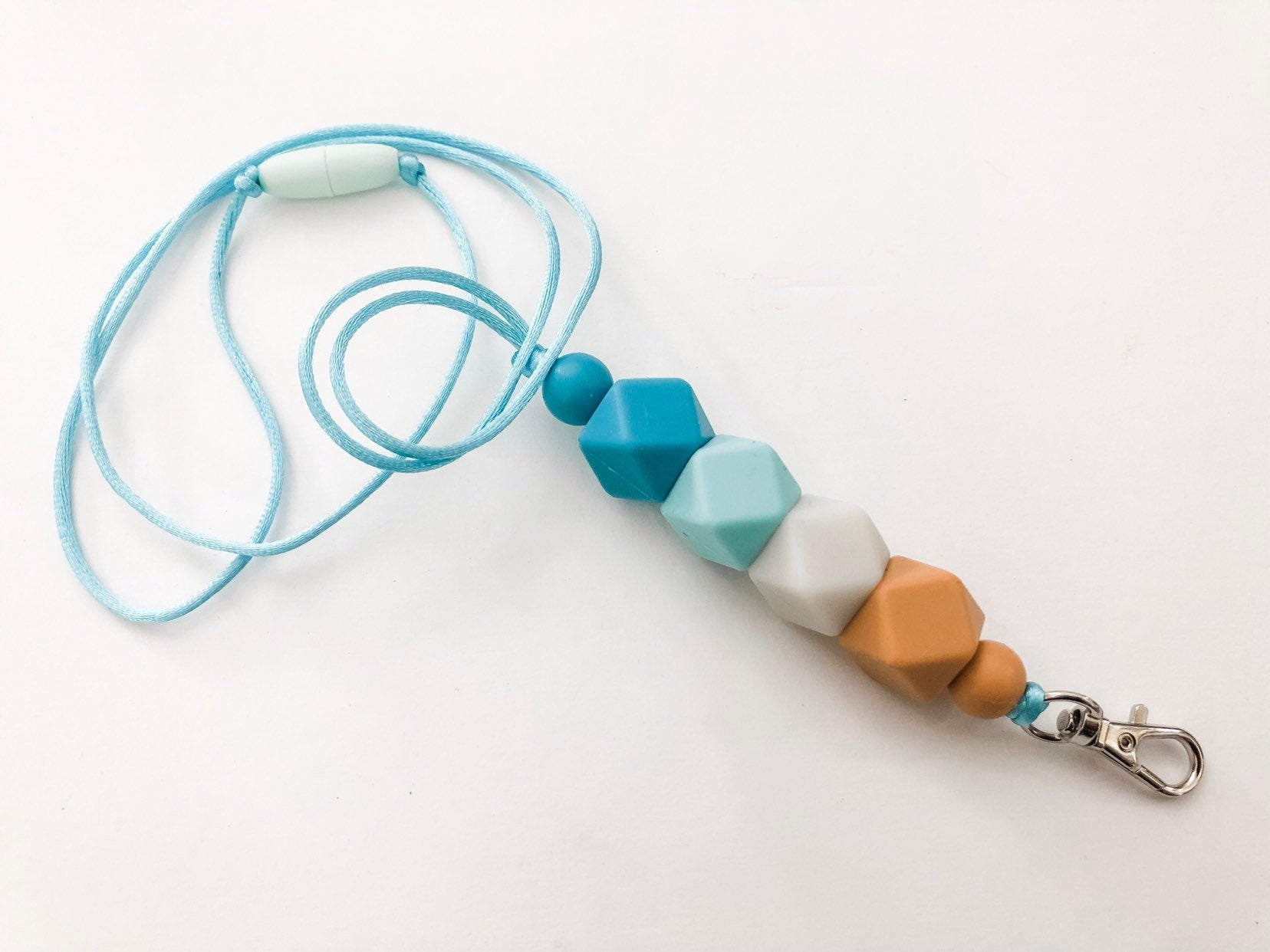 Teacher Lanyard - Beach Theme - Silicone Bead Lanyard