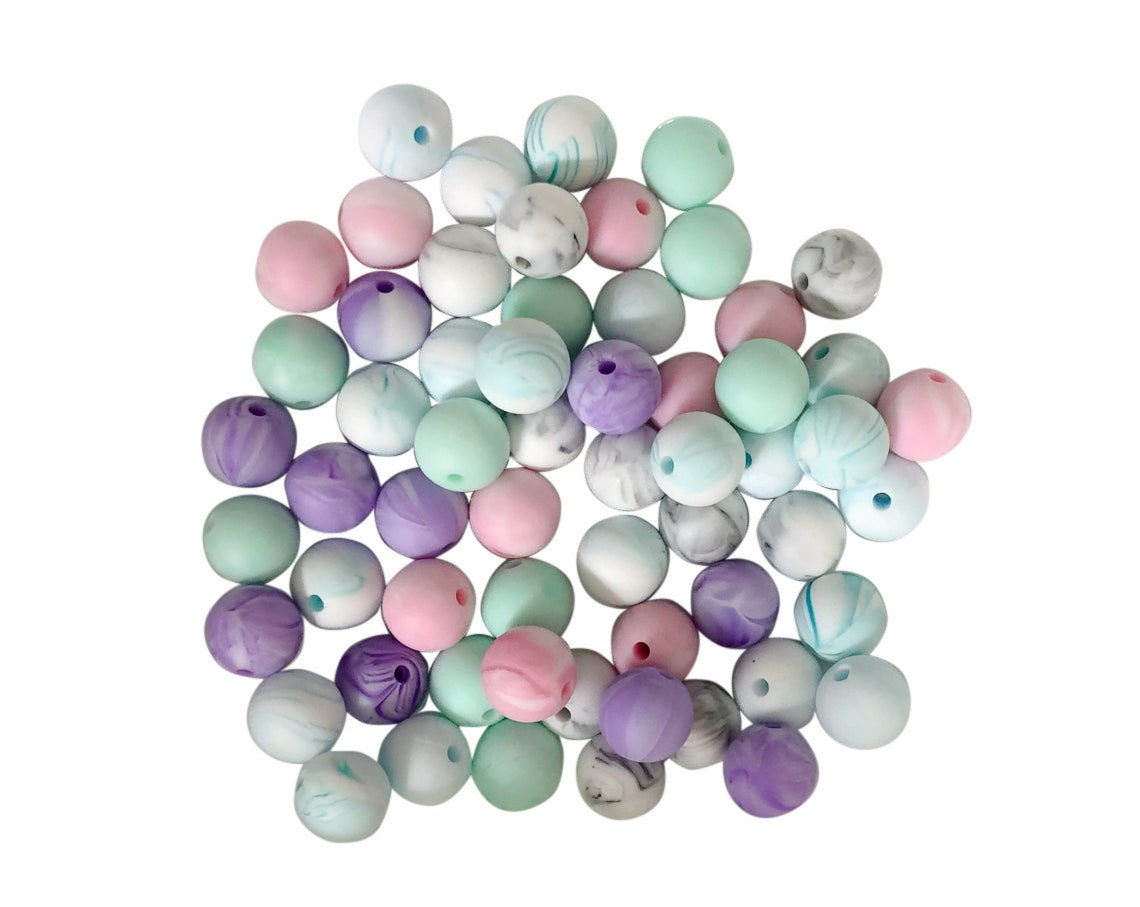 60 Bulk Silicone Teething Beads - Marble Mix - Pink, Mint, Teal, Blue, Purple, Grey Marble - Bulk Silicone Beads Wholesale