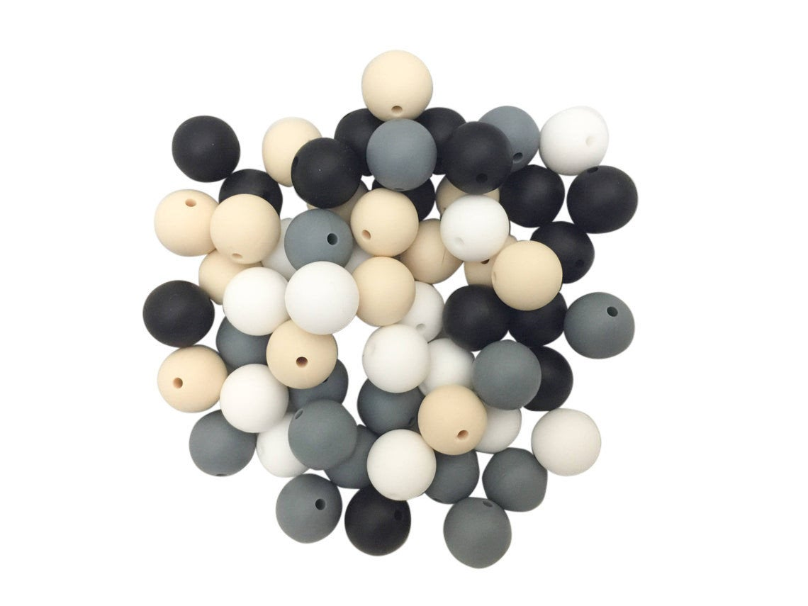 60 Bulk Silicone Beads - Black, White, Gray, Ivory