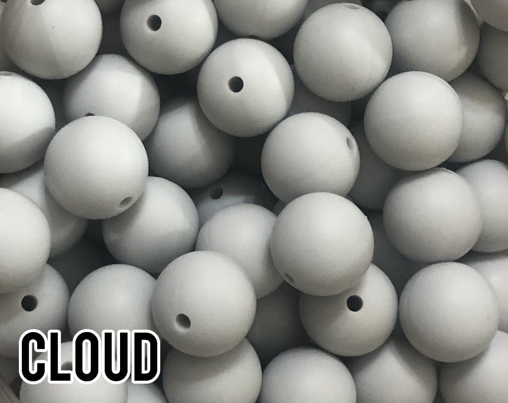 9 mm Round Cloud Silicone Beads (aka Light Grey, Yellow Grey, Light Gray)