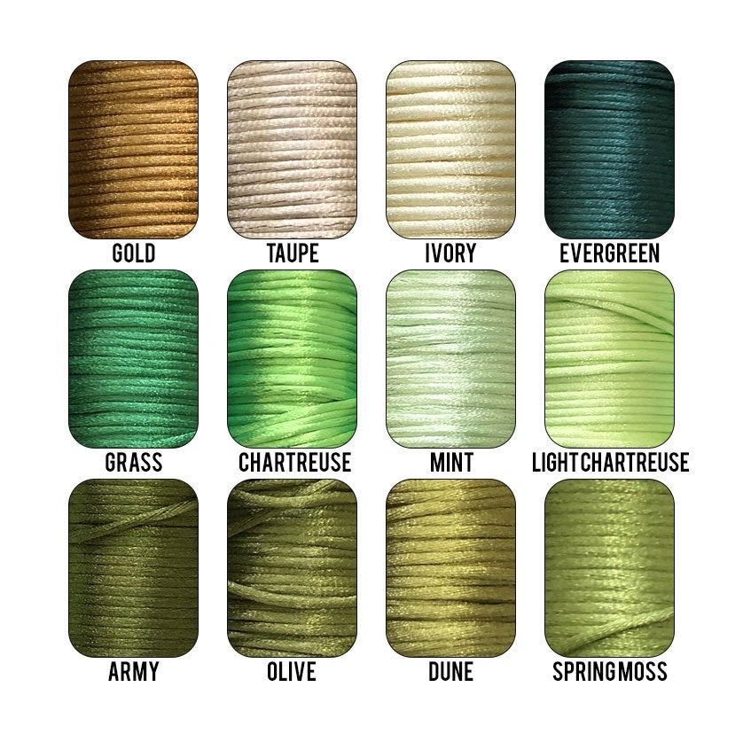 2mm Solid Colored Rattail Cord String Rope (2 mm) or Stretchy Clear 1 mm Elastic for Crafts, Silicone Teething Necklaces, Pacifier Clips