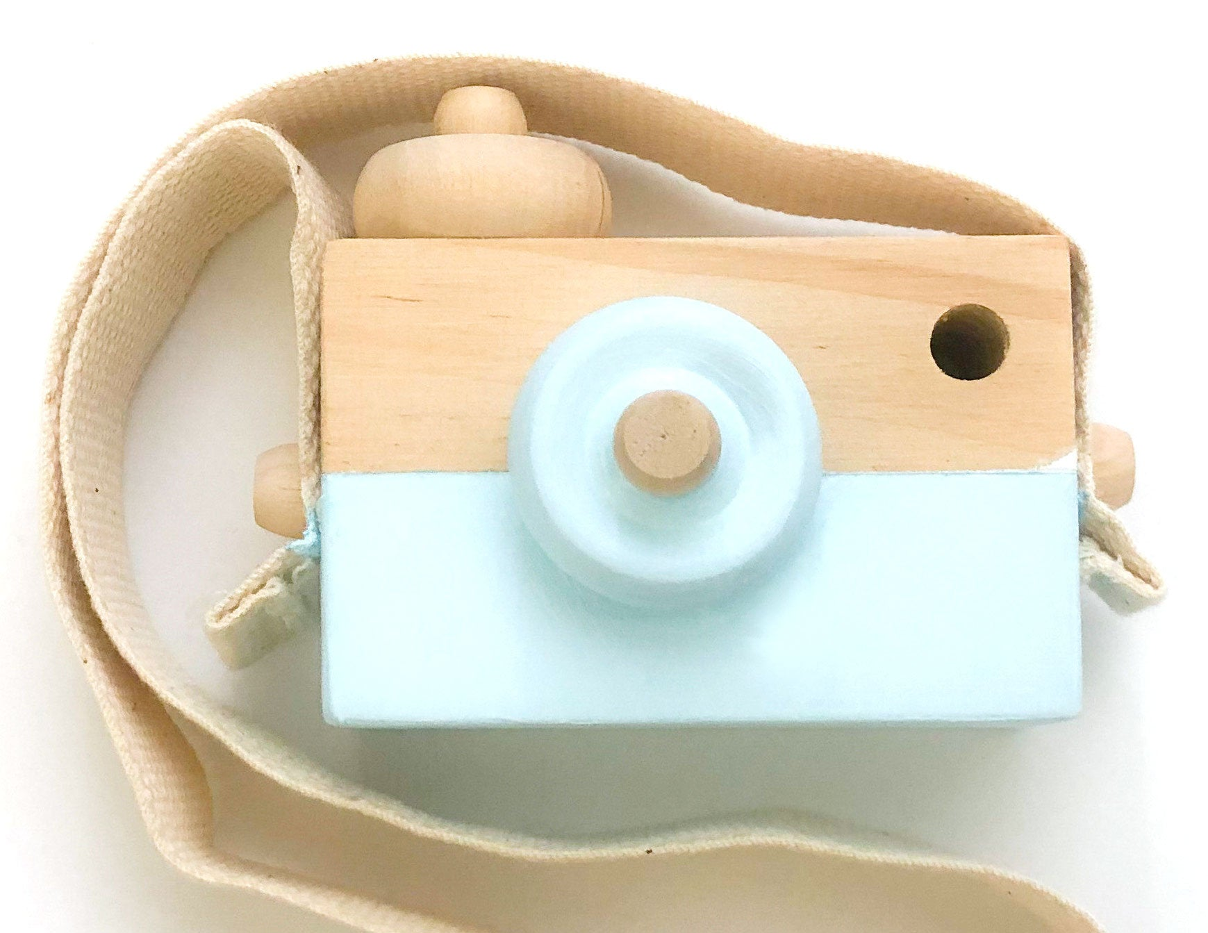 Light Blue Wood Camera Toy