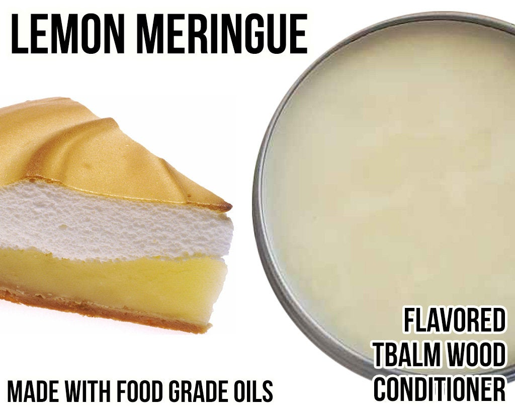 Lemon Meringue Flavored Wood Conditioner - TBalm / T-Balm - (Beeswax, Organic Oil, Food Grade Flavor Oil) in 0.4 oz, 2 oz, and 4 oz
