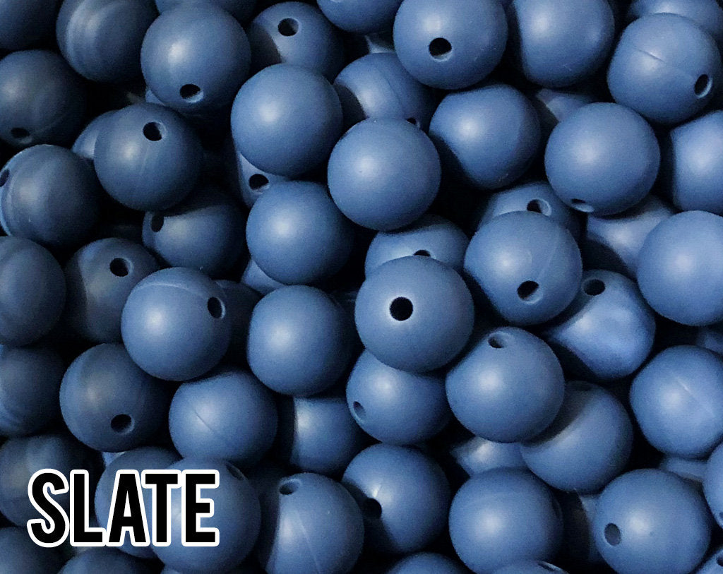 15 mm Slate Silicone Beads 5-1,000 (aka Dusty Blue, Navy Blue) Silicone Beads Wholesale Silicone Beads