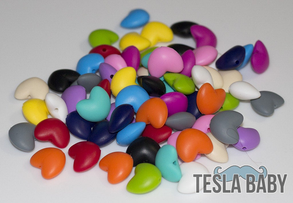 5-50 Heart Silicone Beads - Seamless Silicone Beads in 14 Colors