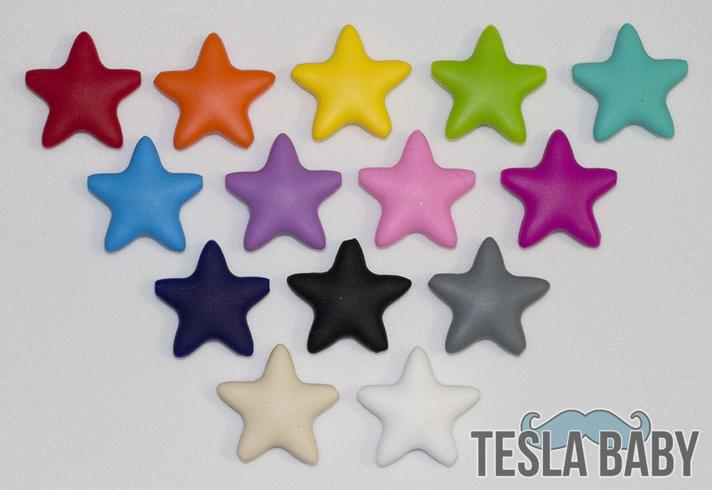 Yellow Star Silicone Bead