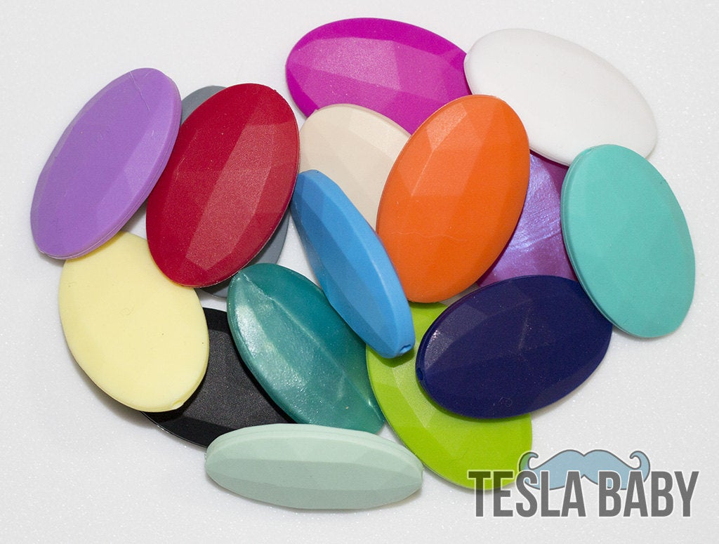 5-15 Flat Oval Silicone Beads - Seamless Silicone Beads in 16 Colors