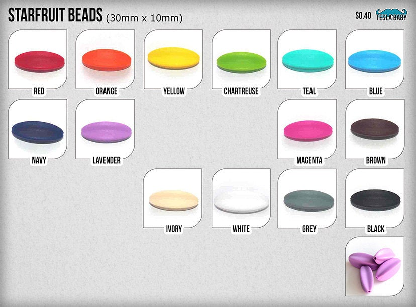 5-15 Starfruit Silicone Beads - Seamless Silicone Beads in 16 Colors
