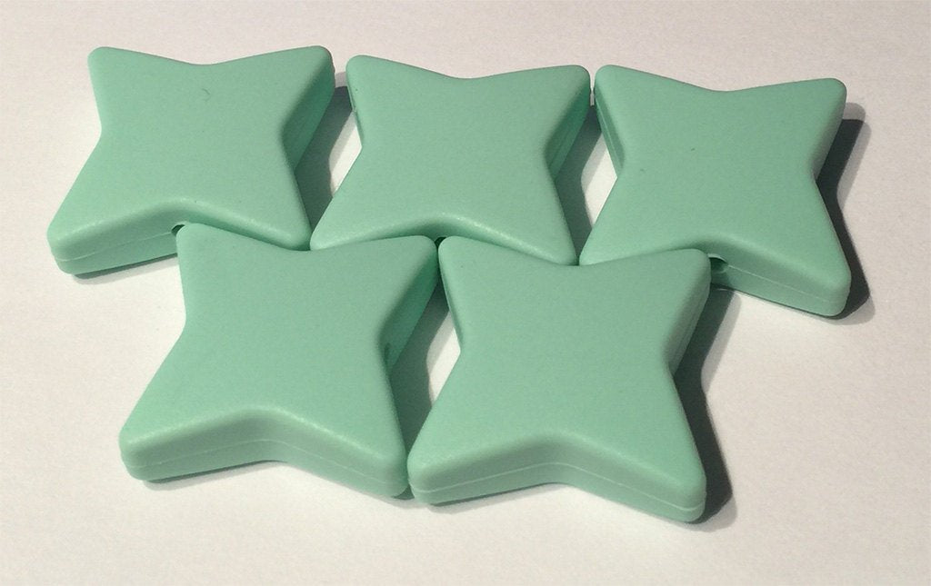 5-15 Mint Green Silicone Ninja Beads