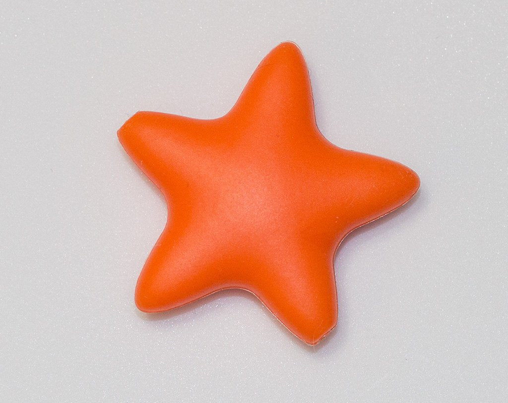 Orange Star Silicone Bead