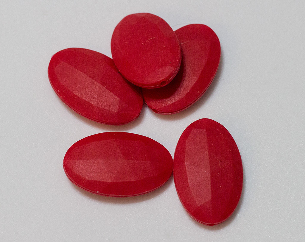 Red Flat Oval Silicone Beads