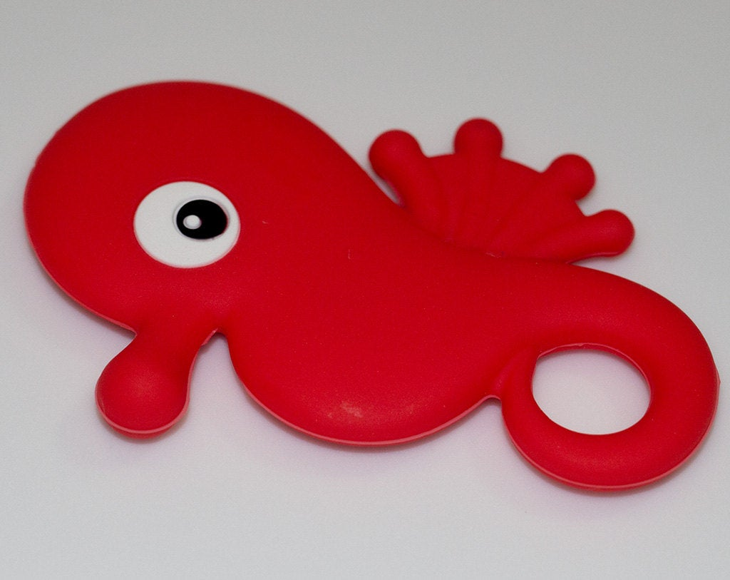Silicone Seahorse Pendant in Red - Silicone Teething, Silicone Teether, Teething Pendant