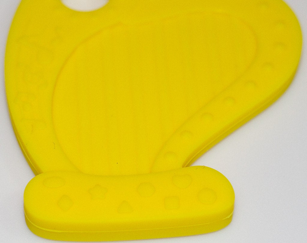 Silicone Harp Teether in Yellow - Silicone Teething, Silicone Teether, Teething Pendant