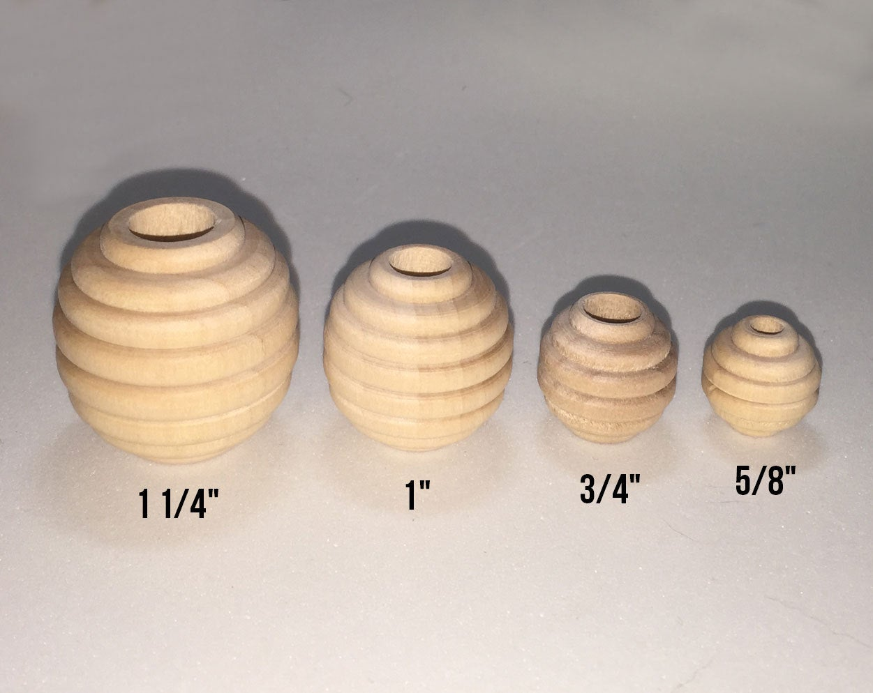 "5/8"" Beehive Wood Bead - Unfinished 3/16"" hole."