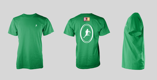 Green Short Sleeve: White Logo T-shirt - Free Shipping to the USA