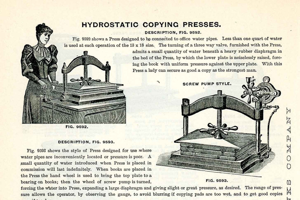 What is the difference between a book press and a copying press?