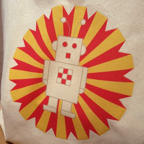 Bright Stem Tote Bag, Robot Design, Eco-friendly Re-Usable - bright stem