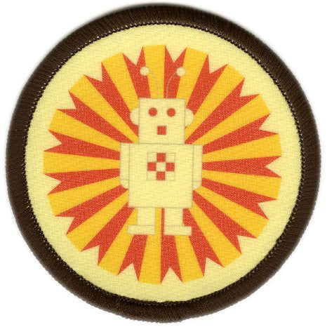 Bright Stem 4 Sew On Patches/Badges Robin, Robot, Triangles, Gingerbread - bright stem