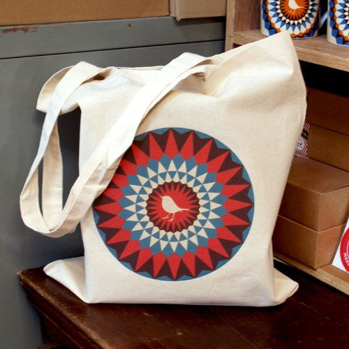 Bright Stem Cotton Tote Bag with Robin Design, Eco-friendly, Re-Usable - bright stem