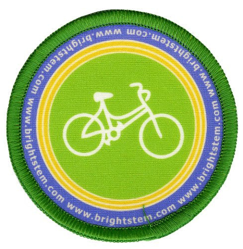 Bright Stem  4 Sew On Patches/Badges, Cupcake Tea and Bicycles - bright stem