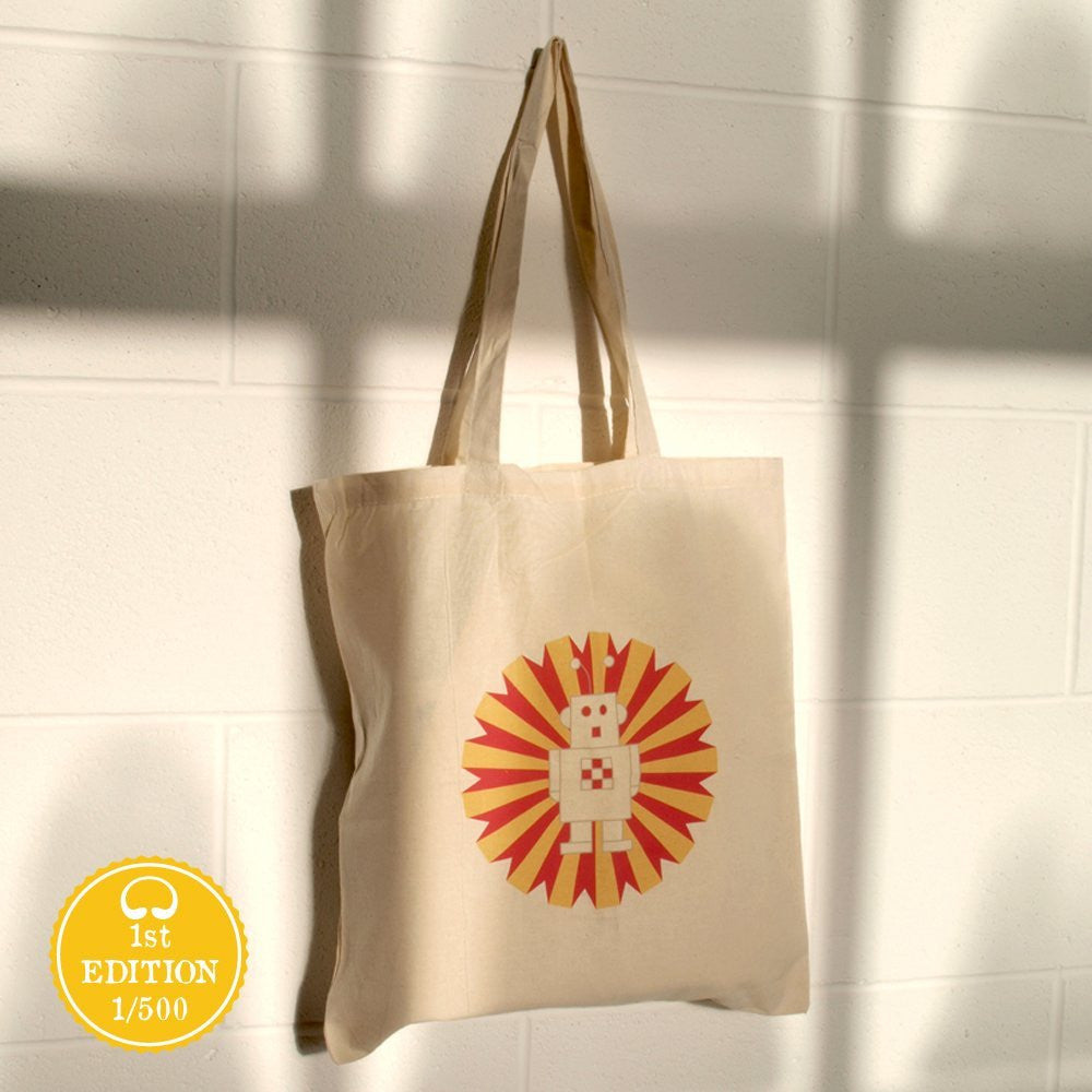 Bright Stem 100% Cotton Tote Bag, Robot Print, Eco-friendly Re-Usable