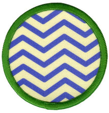 Bright Stem Sew On Patch / Badge Blue Zig Zag Stripes