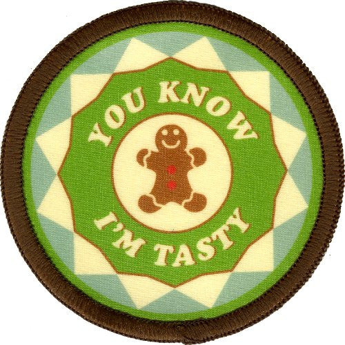 Bright Stem 4 Sew On Patches/Badges Tea, Coffee, Gingerbread, Cupcake - bright stem