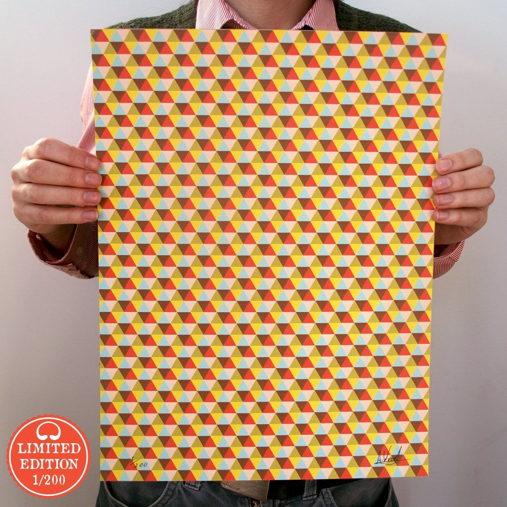 Bright Stem Art Print Contemporary Trianglular Pattern Limited Edition 1/200 40x30cm - bright stem