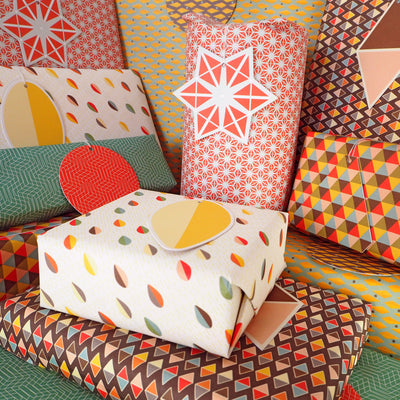 Bright Stem Gift Wrapping Paper Folded (6) Sheets and Tags Geometric Patterns Mixed Pack - bright stem